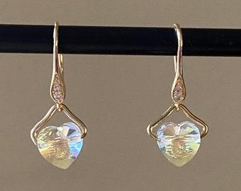 Tiny crystal heart earrings European crystal heart drops Woman jewelry Birthday gift for friend mom partner wife Valentine anniversary Xmas