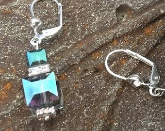Sky blue jewelry Small drop earring Indigo blue crystal dangle earrings Classic blue Geometric cube Womans birthday Gift artist math teacher