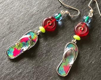 Flip flop shoe earrings Cute jewelry Love to shop Beach theme Teal blue green dangles Womans fun birthday gift Tropical statement earrings