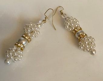 Double pearl earrings Long dangle earrings White and gold glass pearls Monochromatic statement earrings Womans jewelry