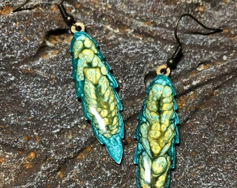 Leaf earrings Hand painted fall jewelry Chartreuse moss olive green Womans unique birthday gift Rustic earthy color Mother nature lover