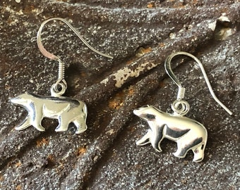 Small polar bear earrings Sterling silver bear claws Mother bear Spirit animal jewelry Arctic Canada symbol Alaska wildlife Birthday gift
