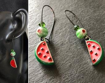 Mini food jewelry Watermelon earrings Colorful statement jewelry Foodie earrings Womans dangle earrings Fun birthday gift Red green black