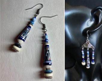 Navy blue white silver earrings Single teardrop dangle earring or dark blue chandeliers Geometric womans jewelry September birthday gift