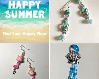 Cute summer jewelry. Long dangle earrings. Woman's fun birthday gift. Tropical statement earrings for beach, shoe, foodie lovers