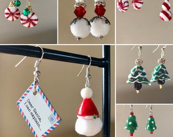 Unique Christmas jewelry Mismatch or match xmas earrings Santa fun earrings Foodie candy Personalize holiday party host gift Red white green