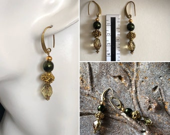 Green gold earrings Victorian vintage style Small olive green dangle earrings Necklace set option Womans birthday gift Unique fall jewelry