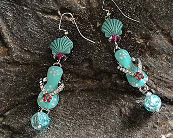 Shoe earrings Tropical sandal earrings Cute colorful jewelry Beach theme statement Turquoise blue flip flop dangles Womans fun birthday gift