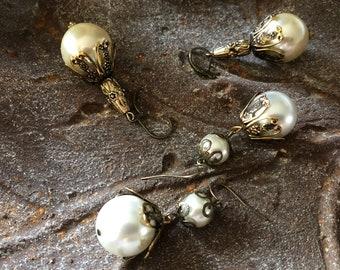 Ivory victorian style pearl earrings Creamy white jewelry Large statement earrings Fall jewelry for woman Add bracelet option