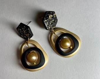 Matte gold and black earrings Pearl dangle earrings Stud drops Womans unique jewelry Party glam June birthday gift Autumn color Fall jewelry