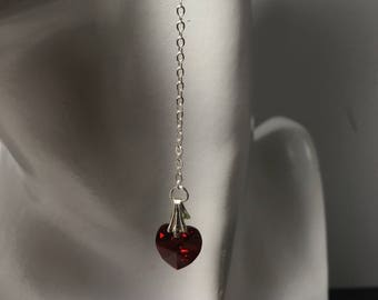 Red heart earrings Small european crystal hearts Silver chains Womans anniversary July birthday Christmas Valentine Mothers day love gift