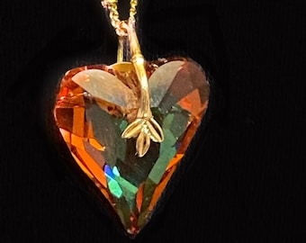 Large heart necklace Gift Swarovski crystal heart pendant Statement necklace for mother friend partner wife anniversary Womans fall jewelry