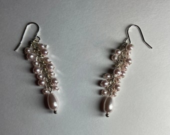 Light pink earrings Teardrop dangle earring Cascading wisteria flowers Womans jewelry for garden lover Valentine mother Spring birthday gift
