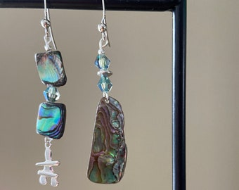 Sterling Inukshuk earrings Abalone silver jewelry Woman winter birthday Travel lover friend gift Arctic Canada symbol Alaska stone man cairn