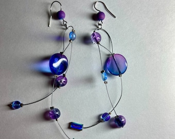 Blue purple glass tendril earring Length option Light weight illusion earring Geometric statement jewelry Long dangle earring Gift for woman