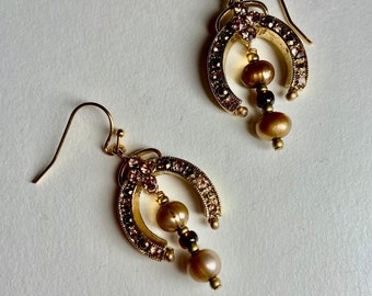 Lucky horseshoe earrings Elegant pearl rhinestone gold drops Vintage style fall jewelry Glamorous earrings for NYE Christmas holiday party