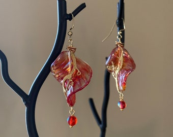 Handcrafted earrings Red orange gold drops Leaf statement earrings Unique jewelry for woman Wearable art lover gift Artisan lampwork glass