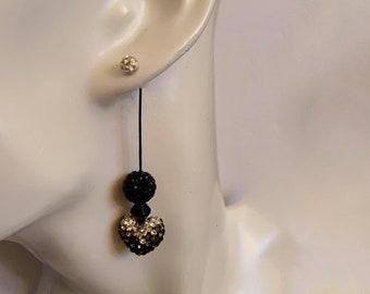Heart earrings 2 way Sterling studs Black & silver dangle earrings European crystal Anniversary womans jewelry Christmas Valentine gift