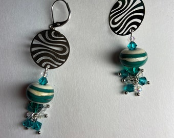 Teal green earrings Artisan lampwork european crystal Geometric silver Statement dangles Unique jewelry for woman Handcrafted art to wear