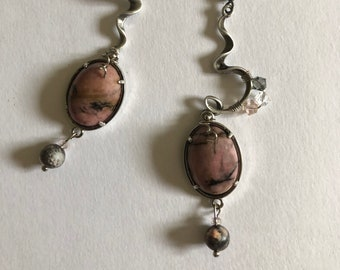 Long dangle earrings Grey pewter pink Rhodo jewelry Unique design Rhodonite earrings Taurus birthday gift Anxiety stone Root heart chakra