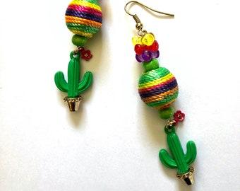 Succulent jewelry Fun cactus earrings Colorful jewelry Long dangle earrings Cute gift for woman Cinco de Mayo festival or margarita jewelry