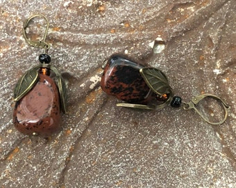 Mahogany Obsidian earrings Pendant option Unique fall jewelry Volcanic glass Antiqued brass Chunky jewelry Autumn colors Nature lover gift