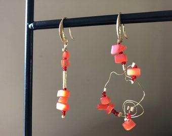 Burnt orange gold mismatch earrings Fun fall jewelry Unique dangle earrings Asymmetrical drop style earrings Womans gift for birthday