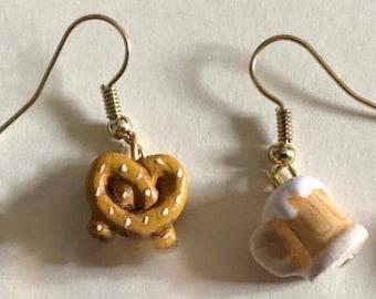 Mini food jewelry Foodie cute earrings Miniature beer and pretzel Small dangle earring Fun jewelry St Patrick Oktoberfest Fall birthday gift