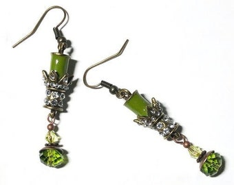 Green earrings Vintage style jewelry Dangle length option Chartreuse moss olive green candlestick drop earrings Womans elegant party jewelry