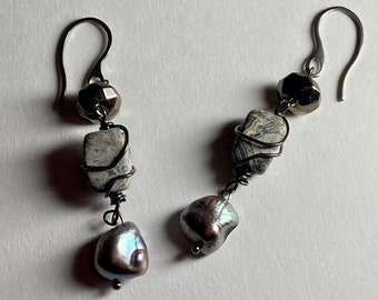Gray pearl drop earring Picture Jasper dangle Womans unique gift Winter jewelry Birthday gift for mother nature lover Global awareness stone