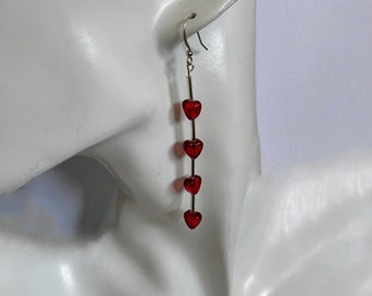 Small heart earrings Red / silver Red / gold Mothers day gift mom July birthday gift for anniversary Christmas valentine Lunar New Year