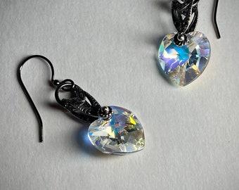 Vintage style heart earrings Mothers day gift mom Swarovski crystal heart dangle earring Gift friend partner wife anniversary birthday