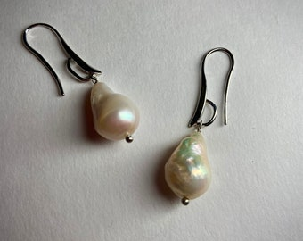 Baroque pearl earrings Large pearl teardrops Womans statement jewelry Mothers day Cancer birthstone June birthday gift Christmas Valentine