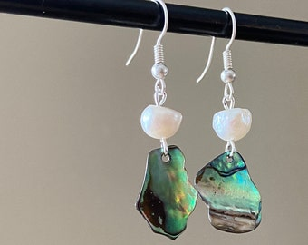 Blue green abalone earrings Small pearl teardrops Mother Day jewelry White pearls Cancer birthstone June birthday gift Christmas Valentine