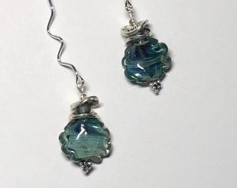 Teal blue earrings Unique flower jewelry Minimalist style Long silver dangle earrings Artisan glass jewelry Fun trendy gift for woman