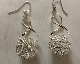 Silver wool ball earrings or pendant on long chain Monochromatic jewelry Fun gift for knitter Mod tech statement Womans winter birthday gift