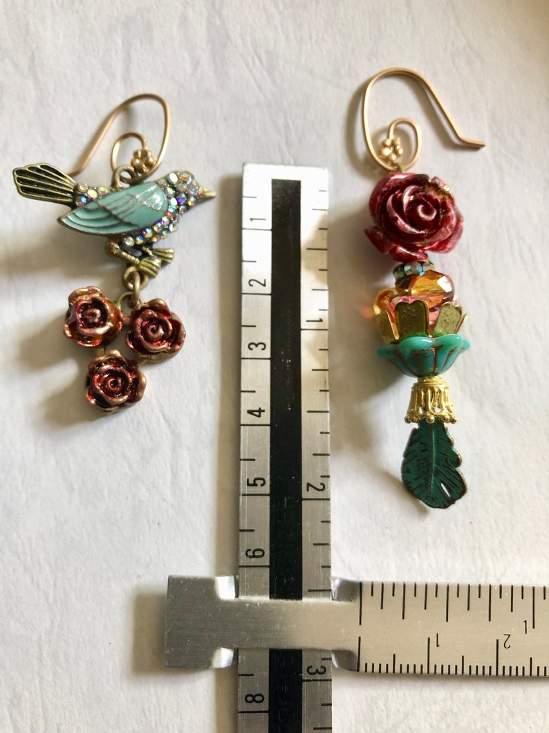 Mismatch earring Flower jewelry Burgundy rose Teal green bird Vintage style Womans birthday gift Spring jewelry Mother day June birth flower