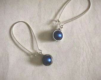 Sky blue earrings Denim blue pearl earrings Silver length option European pearls Womans jewelry Gift for March September December birthday
