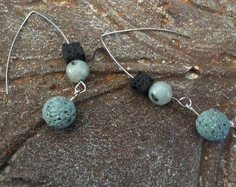 Teal green earrings Essential oil diffusers Black Icelandic lava Sesame jasper Womans minimalist silver threaders Her travel lover gift