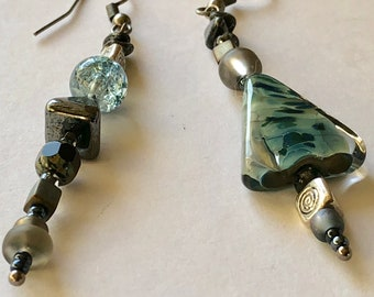 Long teal blue grey dangle earrings Unique mismatch or pair Geometric asymmetrical triangle jewelry Artisan glass Pewter & silver