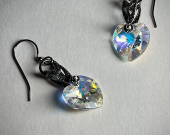 Vintage style heart earrings European crystal heart dangle earring Gift friend partner wife anniversary birthday Mothers day gift mom