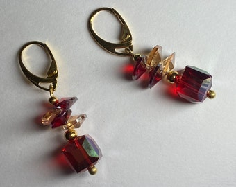 Red crystal earrings Small cube drop Colours -black purple blue pink gold Geometric jewelry for woman Moms birthday Christmas Valentine gift