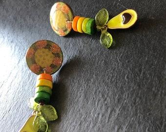 Mini food jewelry Love avocado earring for foodie Colourful jewelry Green yellow orange stud Statement drop Womans fun birthday gift