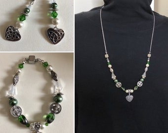 Celtic jewelry Convertible necklace Magnetic bracelet Add heart dangle earrings Irish love knot Womans spring jewelry March birthday gift