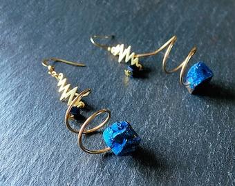 Dark blue earrings Celestial statement jewelry Gold spiral corkscrew twists Druzy navy drop style earrings for woman Curly dangle earrings
