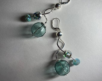 Teal green glass bubble earrings Dramatic statement jewelry Silver ribbon earring Curly dangle earring Spiral twists Womans unique gift