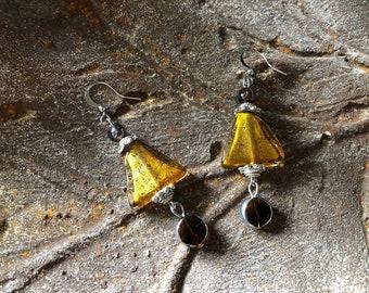Deco style earrings Geometric triangle dangles Artisan glass statement earrings Autumn colors Math teacher gift Back to school fall jewelry