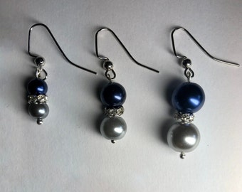Small navy blue and silver earrings Dark blue earrings Minimalist style Double glass pearl drops Womens jewelry Earrings to personalize