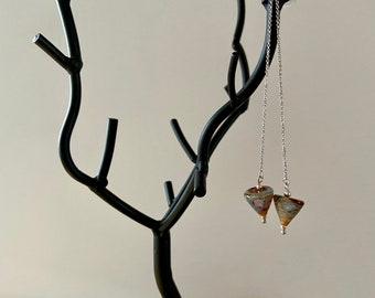 Geometric fall jewelry Lampwork glass cones Artisan made earrings Minimalist threaders Long dangle earrings Autumn colors Unique chain drops