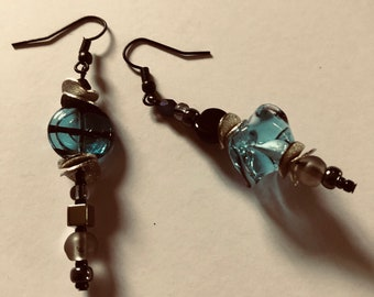 Handcrafted long dangle earrings Mismatch or pair Unique blue jewelry Asymmetrical turquoise lampwork glass Womans gift Abstract flowers